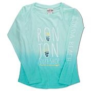 Ron Jon Girls Dip Dye Long Sleeve Tee - Jade