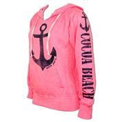 Ron Jon Neon Pull Over Hoodie - Navy Anchor - Cocoa Beach