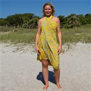 Print Sarong With Fringe - Yellow
