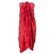 Print Sarong With Fringe - Red
