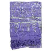 Print Sarong With Fringe - Purple/Green