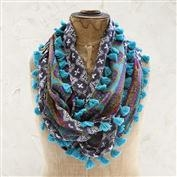 Natural Life Black & Cream With Blue Fringe Vagabond Gypsy Scarf