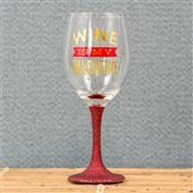 Wine Is My Valentine Glitter Stem Glass