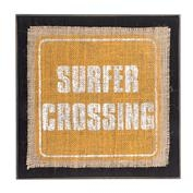 Surfer Burlap Sign - Surfer Crossing