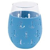 Silicone Wrapped Stemless Anchor Glass - Blue