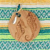 Bamboo Cutting Board with Spreader - Seahorse