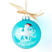 Glass Hand Painted Sealife Ornament - Octopus